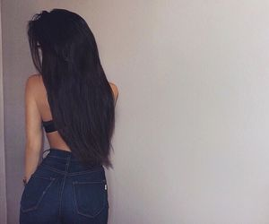 hair, beauty, and jeans image