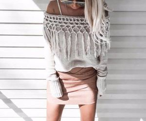 sweater, trendy, and offshoulder image