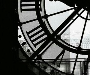 big, black and white, and clock image