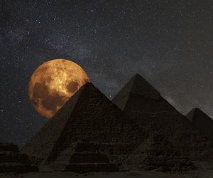 egypt, moon, and pyramids image