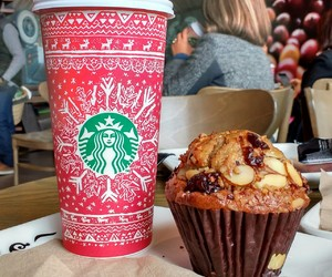 coffee, cranberry, and muffin image
