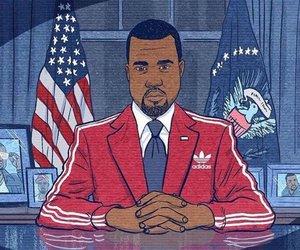 kanye, president, and adidas image