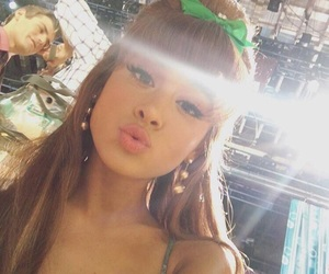 bangs, green bow, and earrings image