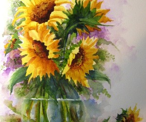 art, sunflowers, and watercolour image