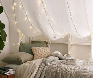 bedroom, bed, and fairy lights image