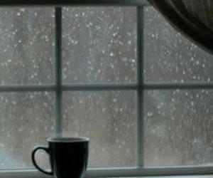 rain, window, and coffee image