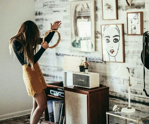girl, music, and room image