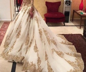 dress, wedding, and gold image
