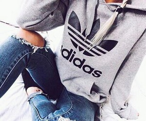 fashion, hoodie, and ripped jeans image