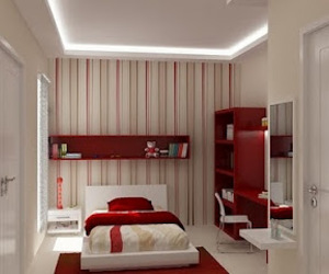 red, bedroom, and interior image