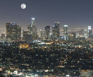 city, moon, and los+angeles image