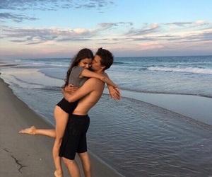 beach, cuddle, and hug image