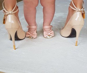 baby, lady, and shoes image