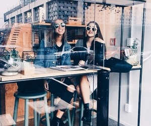 girl, friends, and coffee image