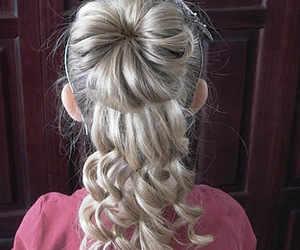 blonde, bun, and curly image