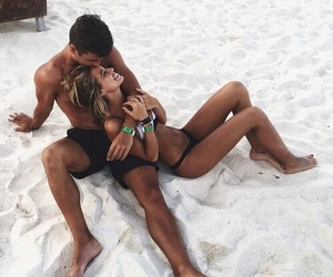 beach, couple, and trip image