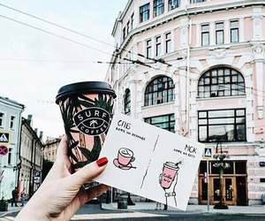 coffee, moscow, and postcard image