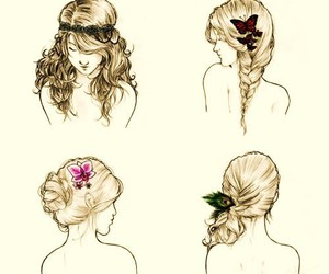 drawing, vintage, and hair image
