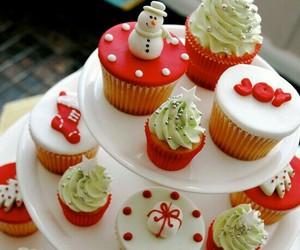 christmas, cupcake, and red image