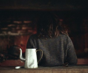 girl, tea, and autumn image