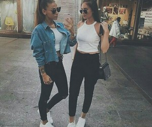 girl, fashion, and friendship image