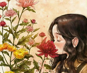art, flowers, and girl image