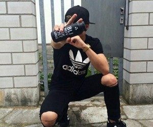 boy, adidas, and black image