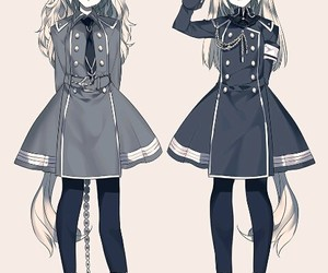 anime, dress, and white hair image