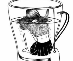 tea, outline, and sad image