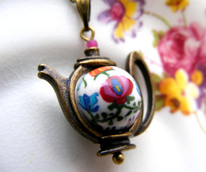 alice in wonderland, white and pink, and cute necklace image