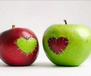 apple, heart, and green image