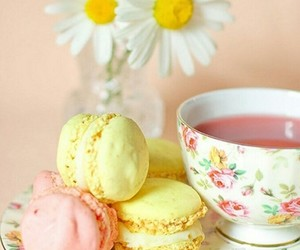 tea, flowers, and macaroons image