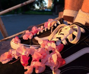 pink, flowers, and sneakers image