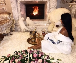 girl, luxury, and flowers image