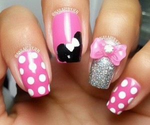 design, nail, and pink minnie mouse image