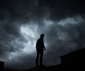 boy, sky, and dark image