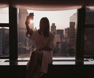 girl, selfie, and city image