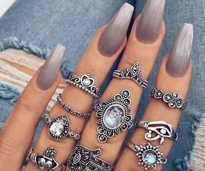 nails, rings, and grey image