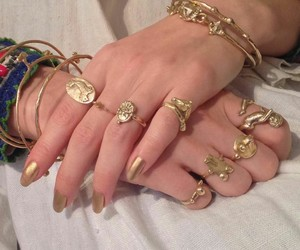gold, rings, and hands image