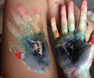 art, paint, and hand image