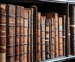 antique, books, and dark image