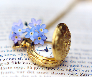 flowers, book, and watch image