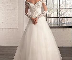 bride, dress, and long sleeve image