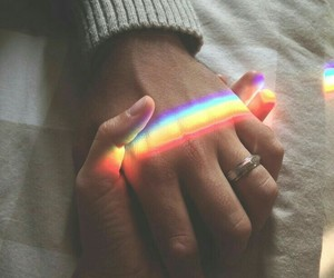 love, rainbow, and hands image