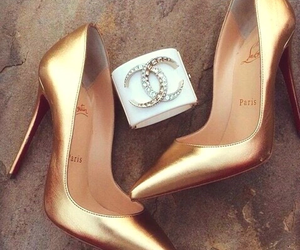 shoes, chanel, and gold image