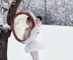 ballerina, ballet, and winter image