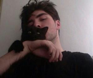 boy, cat, and black image
