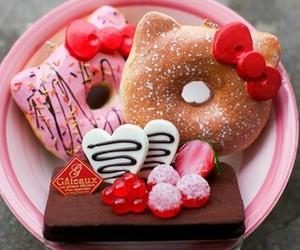 food, hello kitty, and donuts image