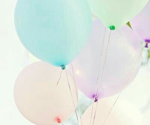 balloon, blue, and pastel image