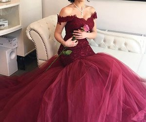 dress, prom dress, and burgundy prom dresses image